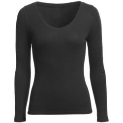 Wide-V Neck Shirt - Modal-Cotton, Long Sleeve (For Women)