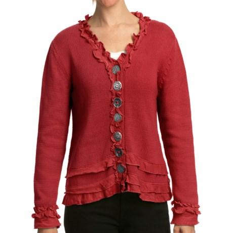 Pure Handknit Brooklyn Ruffle Cardigan Sweater (For Women)