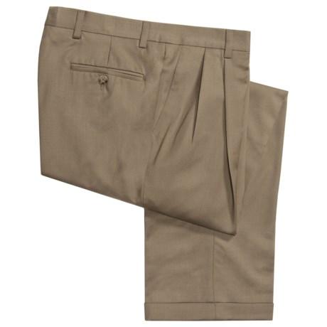 Barry Bricken Wool Gabardine Pants - Pleats, Cuffs (For Men)