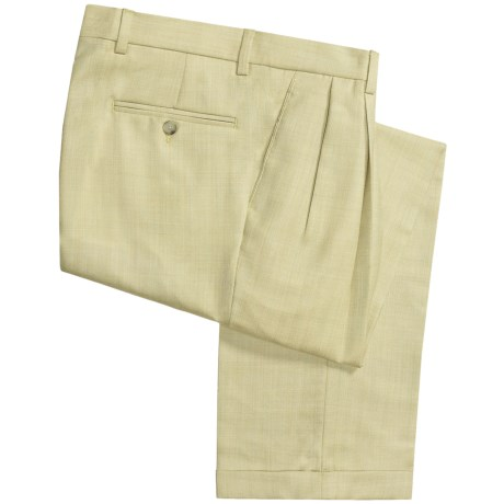 Barry Bricken Silk-Wool Pants - Pleats, Cuffs (For Men)