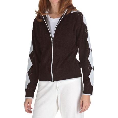 SoyBu Argyle Hoodie Sweatshirt - Full Zip (For Women)
