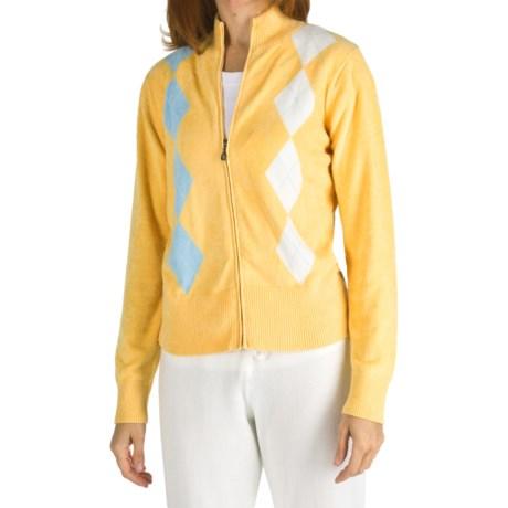 SoyBu Argyle Cardigan Sweater - Full Zip (For Women)