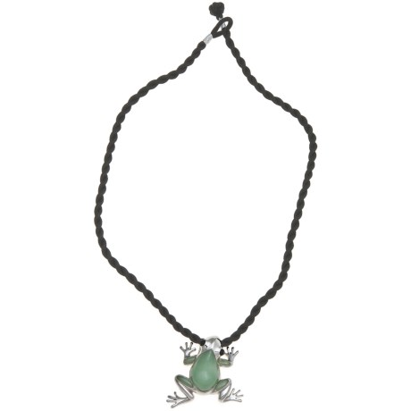 Gemstar Green Jade Frog Necklace - 18""