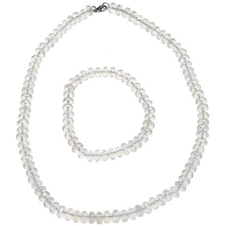 Gemstar Czech Crystal Rondelle Necklace - Matching Bracelet