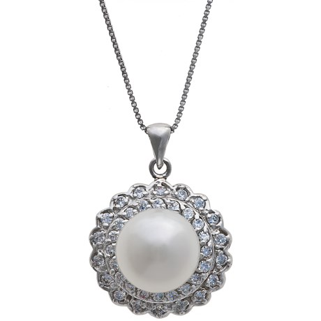 Gemstar Freshwater Pearl and CZ Necklace - 18""