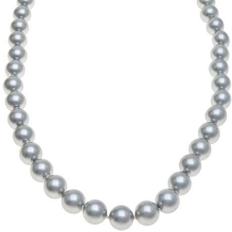 Gemstar Silver-Grey Shell Pearl Necklace - CZ Clasp