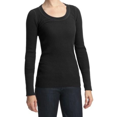 Cotton Waffle-Knit Shirt - Long Sleeve (For Women)
