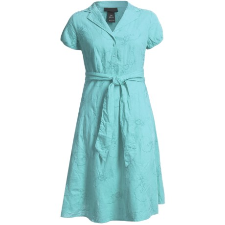 Linen-Blend Shirtwaist Dress - Short Sleeve (For Plus Size Women)