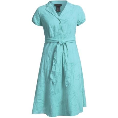 Specially made Linen-Blend Shirtwaist Dress - Short Sleeve (For Plus Size Women)