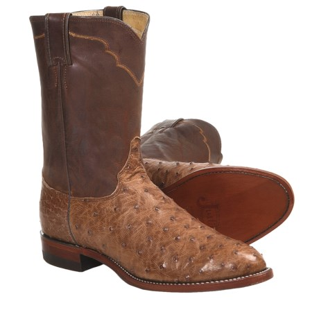 """Justin Boots Full-Quill Ostrich Cowboy Boots - R-Toe, 10"""" (For Men)"""