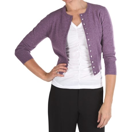 Johnstons of Elgin Marled Cashmere Crop Cardigan Sweater (For Women)