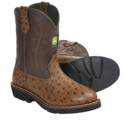 John Deere Footwear Johnny Popper Cowboy Boots - Ostrich Print (For Youth Boys and Girls)