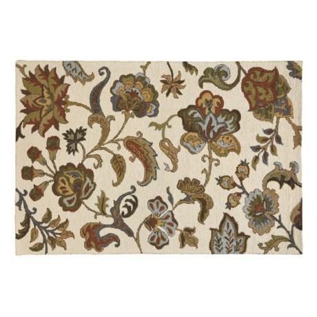 HRI Floral Area Rug - 5x8', Wool