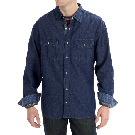 Scully Signature Denim Cotton Shirt - Snap Front, Long Sleeve (For Men)