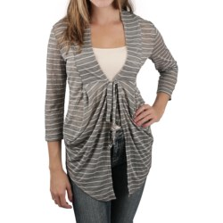 Zenim Striped Slub Jersey Shrug (For Women)