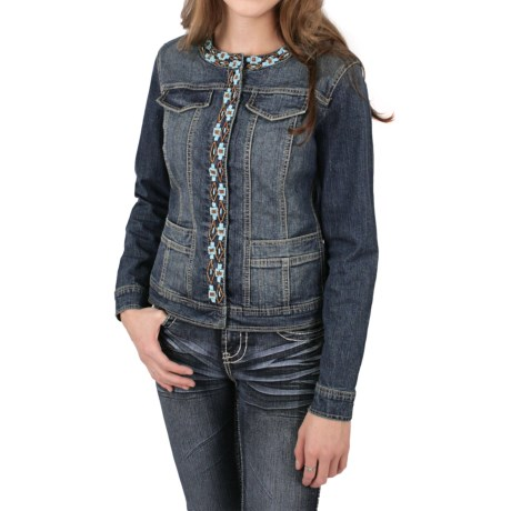 Ethyl Denim Jacket with Southwest Beading (For Women)