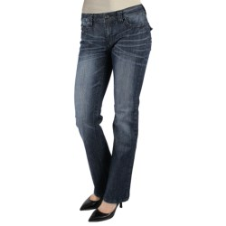 Zenim Bootcut Denim Jeans - Bling Flap Back Pocket (For Women)