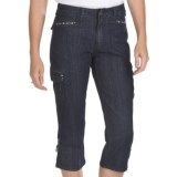 Ethyl Denim Cargo Bling Capris (For Women)