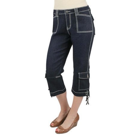 Ethyl Denim Cargo Capris - Side Ties (For Women)