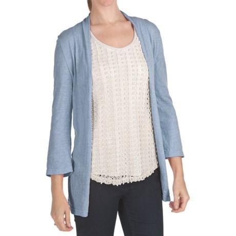 True Grit Vintage Slub Jersey Cardigan Sweater - 3/4 Sleeve (For Women)