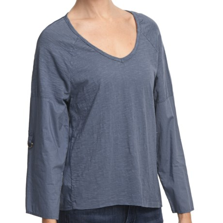 True Grit Vintage Slub Cotton Top - V-Neck, Long Roll Sleeve (For Women)