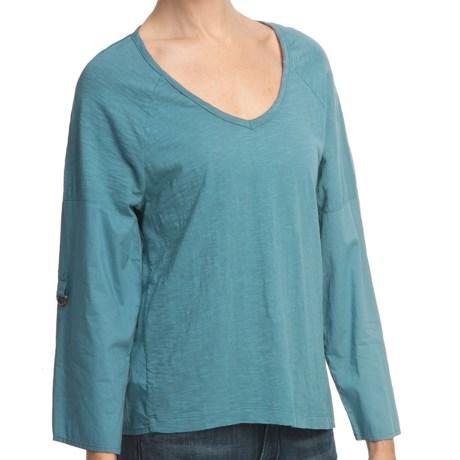 True Grit Vintage Slub Cotton Top - V-Neck, Long Roll Sleeve (For Women)
