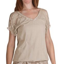 True Grit Raw Edge Bugle Bead Shirt - Short Sleeve (For Women)
