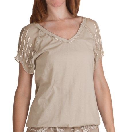 True Grit Raw Edge Bugle Bead Shirt - Short Sleeve (For Women)