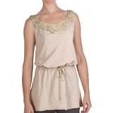 True Grit Ruffled Chiffon Trim Tank Top -  Slub Cotton, Tie Waist (For Women)