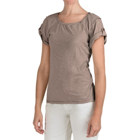True Grit Slub Knit Twist T-Shirt - Short Tab Sleeve (For Women)