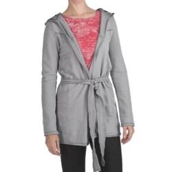True Grit Slub Fleece Hooded Jacket - Tie Front (For Women)