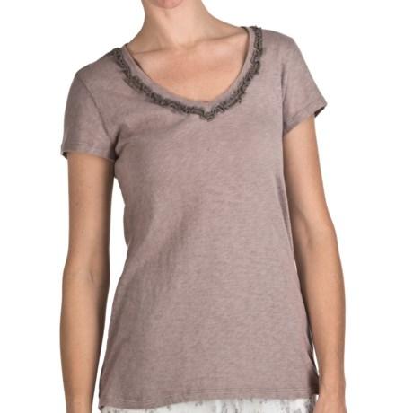 True Grit Slub Cotton Ruffle Shirt - Short Sleeve (For Women)