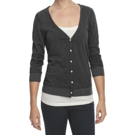 True Grit Crystal Button Cardigan Sweater - Slub Cotton, 3/4 Sleeve (For Women)