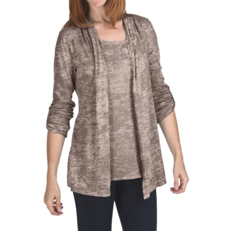 True Grit Burnout Slub Cardigan Sweater - Roll-Up Sleeve (For Women)