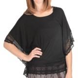 True Grit Silky Slub Knit Lace Trim Shirt - Dolman Sleeve (For Women)