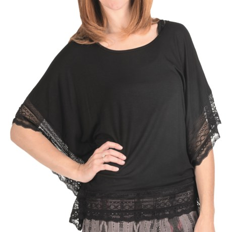 True Grit Silky Slub Knit Lace Trim Shirt - Dolman Sleeve (For Women)