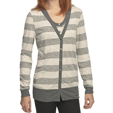 True Grit Heather Stripes Long Cardigan Sweater - Snap Front (For Women)