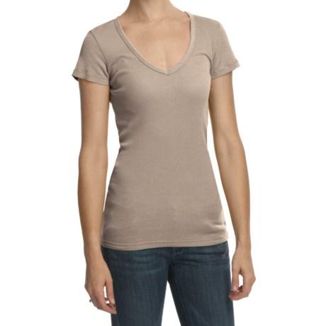 True Grit French Rib Shirt - Short Sleeve, V-Neck (For Women)