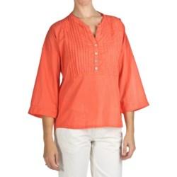 True Grit Pintuck Bib Shirt - Cotton Voile, 3/4 Sleeve (For Women)