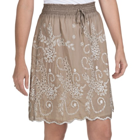 True Grit Eyelet Skirt - Cotton-Silk, Fully Lined (For Women)