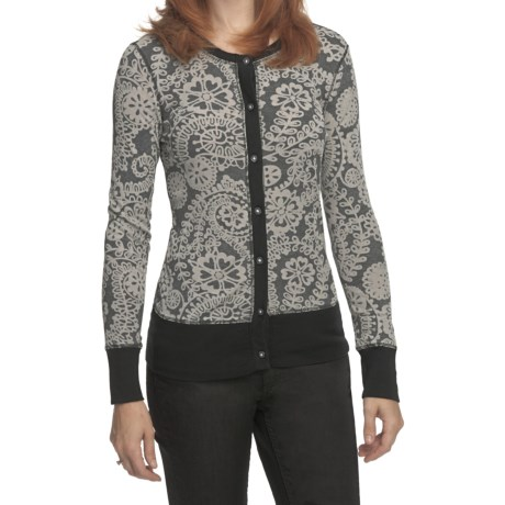 True Grit Cody Floral Cardigan Sweater - Burnout Rib-Knit (For Women)