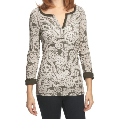 True Grit Cody Floral Burnout Shirt - Rib Knit, 3/4 Roll Sleeve (For Women)