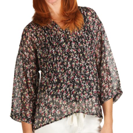 True Grit Chiffon Crop Pintuck Shirt - 3/4 Sleeve (For Women)