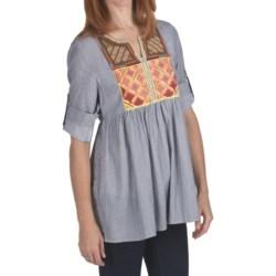 True Grit Indigo Stripe Shirt - 3/4 Roll Sleeve (For Women)