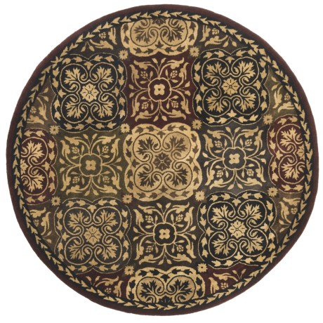 "Kaleen Taj Garden 100% Fine Wool Round Area Rug - 5'9"""