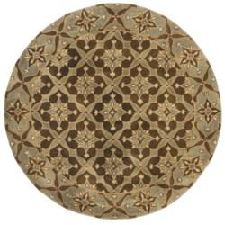 "Kaleen Maharaja Garden Fine Wool Round Area Rug - 5'9"""