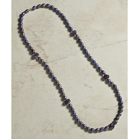 """Aluma USA Freshwater Pearl and Amethyst Necklace - 36"""""""