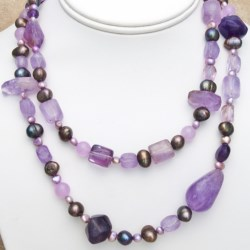 Aluma USA Amethyst and Pearl Necklace - 38""
