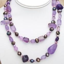 "Aluma USA Amethyst and Pearl Necklace - 38"""