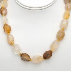 "Aluma USA Faceted Yellow Quartz Necklace - 18""+2"""